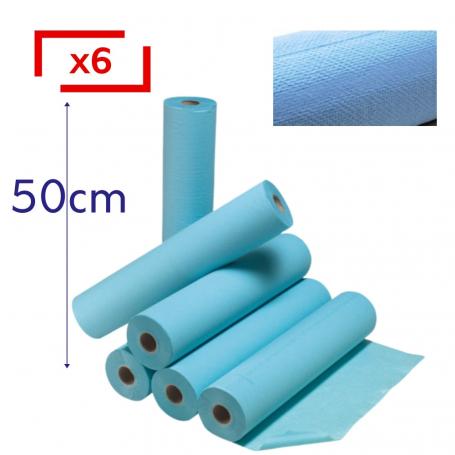 Draps d'examen plastifiés bleu - 6 rouleaux